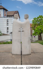 Brno, Czech Republic - june, 2018: Sculpture of two brothers, St. Cyril and St. Methodius, near Cathedral of St. Peter and St. Paul, Petrov Hill, Brno City, Czech Republic