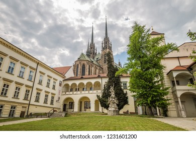 Brno, Czech Republic - june, 2018:  -  view of group of buildings called the Bishop's Court Brno, Moravia, Czech Republic, Europe