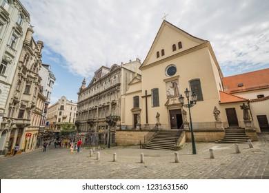 Brno, Czech Republic - june, 2018: - walking Brno old town streets, view of Capuchin Monastery entrance in Brno, Moravia, Czech Republic, Europe