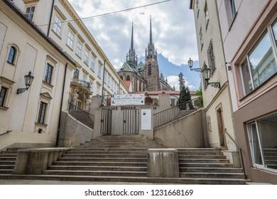 Brno, Czech Republic - june, 2018: walkind Brno old town streets, way to the Moravian Zemske museum - Brno, Moravia, Czech Republic, Europe