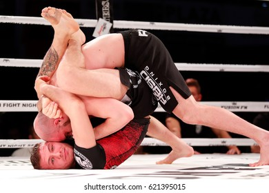 Brno, Czech Republic. March 10, 2017. FUSION FN11: RINGFIGHT -77 KG, BJJ METAMORIS, 10 MIN. Jan Stach (Fightclub Brno, Czech rep.) winner vs Antonio Stanic (Alpha Jiu Jitsu Academy Vienna, Austria)