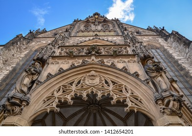 Brno, Czech Republic - March 11, 2019: Close up view of the entrance to cathedral of St. Peter and Paul in Brno, Czech Republic