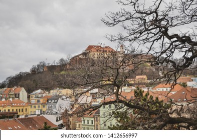Brno, Czech Republic - March 11, 2019: panoramic view on the old town of Brno, Czech Republic
