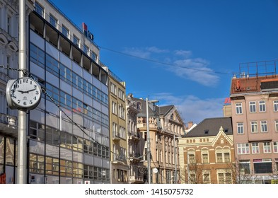 Brno, Czech Republic - March 11, 2019:  The central street with clock in Brno downtown