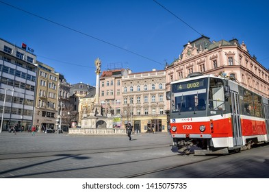 Brno, Czech Republic - March 11, 2019:  The central street with tram in Brno downtown