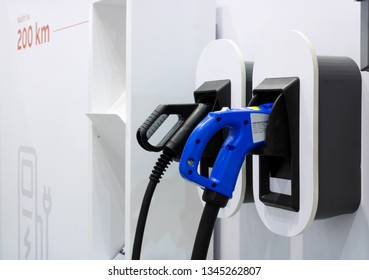 BRNO, CZECH REPUBLIC – March 20, 2019: Power plug for charging electric car at 27th International Trade Fair Amper 2019 of technologies in Brno exhibition centre
