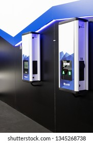 BRNO, CZECH REPUBLIC – March 20, 2019: Charging station with plug for charging electric car at 27th International Trade Fair Amper 2019 of technologies in Brno exhibition centre