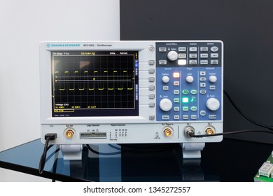 BRNO, CZECH REPUBLIC – March 20, 2019: Professional oscilloscope by Rohde and Schwartz at 27th International Trade Fair Amper 2019 of technologies in Brno exhibition centre