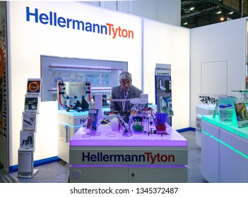 BRNO, CZECH REPUBLIC – March 20, 2019: Cable ties and fixings display by Hellermann Tyton at 27th International Trade Fair Amper 2019 of technologies in Brno exhibition centre
