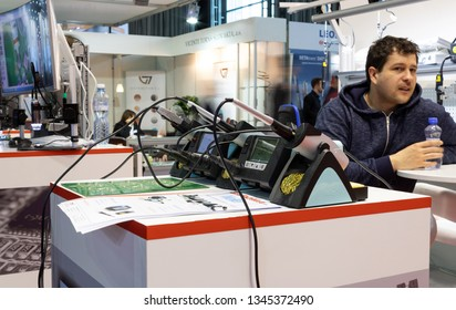 BRNO, CZECH REPUBLIC – March 20, 2019: Soldering iron stations by Weller at 27th International Trade Fair Amper 2019 of technologies in Brno exhibition centre