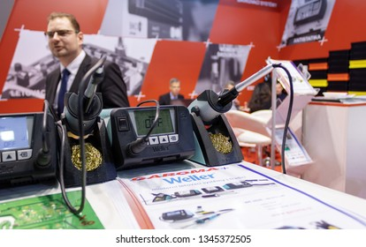 BRNO, CZECH REPUBLIC – March 20, 2019: Soldering iron by Weller at 27th International Trade Fair Amper 2019 of technologies in Brno exhibition centre