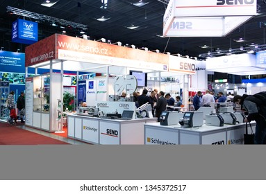 BRNO, CZECH REPUBLIC – March 20, 2019: Seno exposition, random photography shot of promotion at 27th International Trade Fair Amper 2019 of technologies in Brno exhibition centre