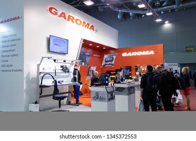 BRNO, CZECH REPUBLIC – March 20, 2019: Garoma exposition, random photography shot of promotion at 27th International Trade Fair Amper 2019 of technologies in Brno exhibition centre