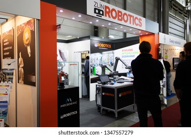 BRNO, CZECH REPUBLIC – March 20, 2019: Zlin Robotics exposition at 27th International Trade Fair Amper 2019 of technologies in Brno exhibition centre