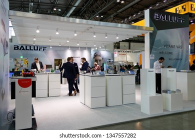 BRNO, CZECH REPUBLIC – March 20, 2019: Balluff exposition, random photography shot of promotion at 27th International Trade Fair Amper 2019 of technologies in Brno exhibition centre