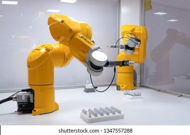 BRNO, CZECH REPUBLIC – March 20, 2019: Robot presentation by Staubli, random photography shot of promotion at 27th International Trade Fair Amper 2019 of technologies in Brno exhibition centre