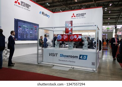 BRNO, CZECH REPUBLIC – March 20, 2019: Mitsubishi Electric exposition, random photography shot of promotion at 27th International Trade Fair Amper 2019 of technologies in Brno exhibition centre