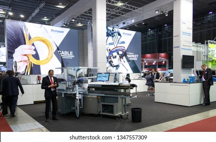 BRNO, CZECH REPUBLIC – March 20, 2019: Thonauer cable processing exposition at 27th International Trade Fair Amper 2019 of technologies in Brno exhibition centre