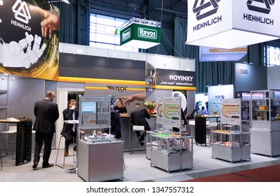BRNO, CZECH REPUBLIC – March 20, 2019: Lin Tech exposition, random photography shot of promotion at 27th International Trade Fair Amper 2019 of technologies in Brno exhibition centre
