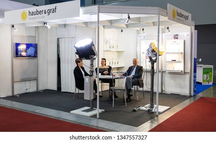 BRNO, CZECH REPUBLIC – March 20, 2019: hauber and graf exposition, random photography shot of promotion at 27th International Trade Fair Amper 2019 of technologies in Brno exhibition centre
