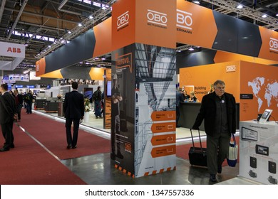 BRNO, CZECH REPUBLIC – March 20, 2019: Obo Bettermann exposition, random photography shot of promotion at 27th International Trade Fair Amper 2019 of technologies in Brno exhibition centre