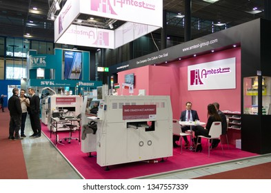 BRNO, CZECH REPUBLIC – March 20, 2019: Amtest Group exposition, random photography shot of promotion at 27th International Trade Fair Amper 2019 of technologies in Brno exhibition centre
