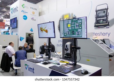 BRNO, CZECH REPUBLIC – March 20, 2019: Random photography shot of promotion at 27th International Trade Fair Amper 2019 of technologies in Brno exhibition centre