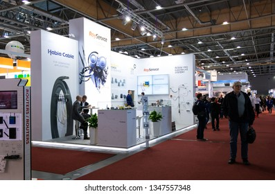 BRNO, CZECH REPUBLIC – March 20, 2019: Ray Service exposition, random photography shot of promotion at 27th International Trade Fair Amper 2019 of technologies in Brno exhibition centre
