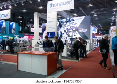 BRNO, CZECH REPUBLIC – March 20, 2019: Thonauer exposition, random photography shot of promotion at 27th International Trade Fair Amper 2019 of technologies in Brno exhibition centre