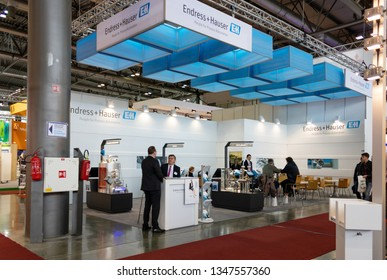 BRNO, CZECH REPUBLIC – March 20, 2019: Endress plus Hauser exposition, random photography shot of promotion at 27th International Trade Fair Amper 2019 of technologies in Brno exhibition centre