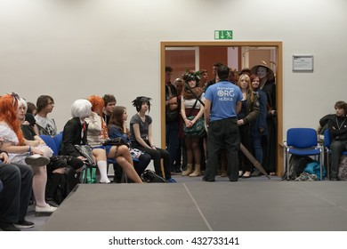 BRNO, CZECH REPUBLIC - MAY 1, 2016: Young people waiting to opening workshop at Animefest, anime and manga convention on MAY 1, 2016 Brno in the Czech Republic.