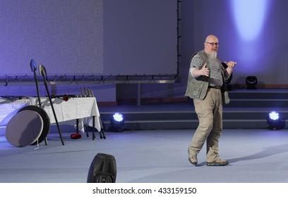 BRNO, CZECH REPUBLIC - May 1, 2016: Robert Waschka during talk about Soldier versus warrior at Animefest, anime convention on May 1, 2016 Brno, Czech Republic