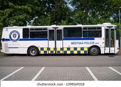 Brno, Czech Republic - May 15 2019: Městská policie Brno Police pullman vehicle