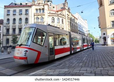 Brno / Czech Republic - May 19 2019: Trams transportation in Brno