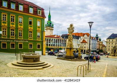 BRNO, CZECH REPUBLIC, MAY 26, 2015: View of Zelny trh square in czech city Brno, which is the biggest city in Moravia.