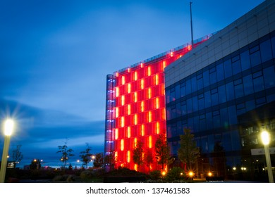 BRNO, CZECH REPUBLIC - MAY 5: Illuminated building of Moravian Provincial Archive on May 5, 2013 in Brno, Czech Republic. It was awarded a Czech 'Building of the Year 2008' prize.