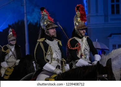 BRNO, CZECH REPUBLIC - NOVEMBER 24, 2018: In the center of Brno today Emperor Napoleon arrived together with his soldiers to prepare for the Battle of Austerlitz, a beautiful historic event.