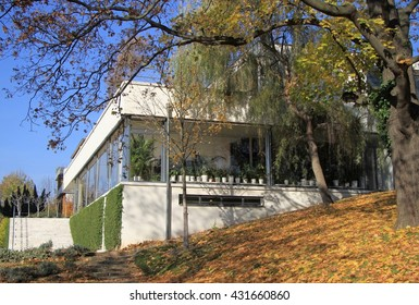 BRNO, CZECH REPUBLIC - NOVEMBER 3, 2015: people are communicating nearly Villa Tugendhat, the historical building in Brno, Czech