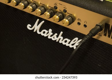 BRNO, CZECH REPUBLIC - NOVEMBER 30, 2014: Marshall amplifier. Marshall was founded by drum shop owner and drummer Jim Marshall.
