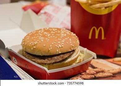 Brno, Czech Republic, October 14, 2017, McDonald´s menu - Big Mac.