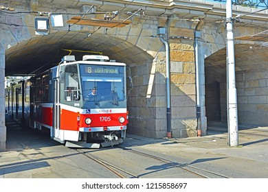 BRNO, CZECH REPUBLIC - OCTOBER 6, 2018 - Tatra KT8D5 tram, operated by DPMB, in the centre of Brno