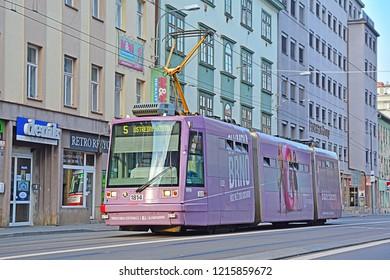 BRNO, CZECH REPUBLIC - OCTOBER 6, 2018 - Skoda 03T tram, operated by DPMB, in the centre of Brno