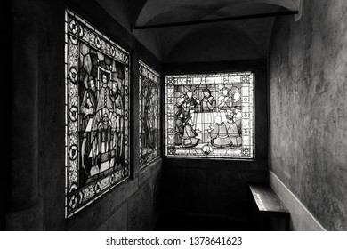 Brno, Czech republic - October 6, 2018: Two vintage vitrage windows in the old city hall. Beautiful place in centre of the city.