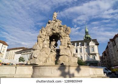 Brno, Czech Republic - Sep 12 2018: Baroque Parnas Fountain in the center of Brno city. Czech Republic