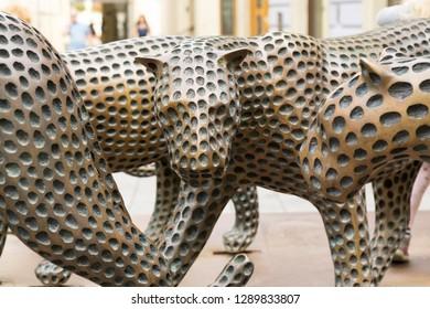 Brno, Czech Republic - Sep 12 2018: Leopard bronze statues in the center of Brno city. Czech Republic