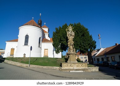 Brno, Czech Republic - Sep 12 2018:  Church of Saint Giles and the statues in front of it in the Brno - Lisen city. Brno, Czech Republic