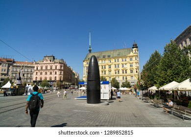 Brno, Czech Republic - Sep 12 2018: Brno astronomical clock in the center of Brno city. Czech Republic