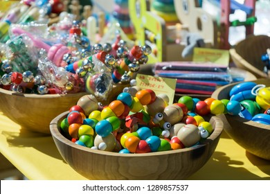 Brno, Czech Republic - Sep 12 2018: Wooden colorful toys on market. Brno, Czech Republic