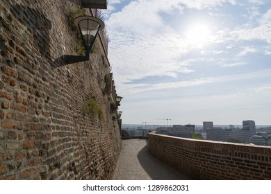 Brno, Czech Republic - Sep 12 2018: Brick walls in the park of Cathedral of St. Peter and Paul in the center of Brno city. Czech Republic