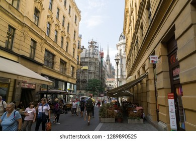 Brno, Czech Republic - Sep 12 2018: Buildings, shops, streets and people in the center of Brno city. Czech Republic